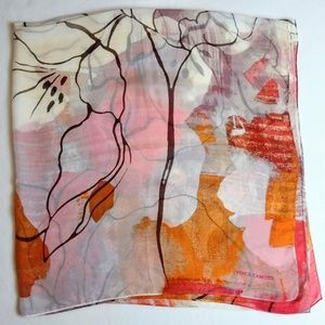 Vince Camuto Silk Scarf Floral Fall Colors EUC